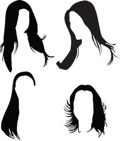 women hair silhouette  矢量图像