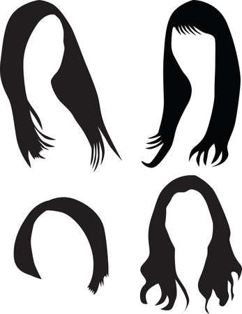 women hair silhouette Vector