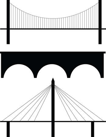 suspension bridge: bridge silhouette  Illustration