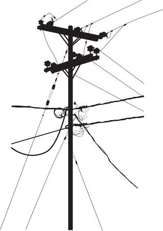 polo: silueta de torre de transmisión  Vectores