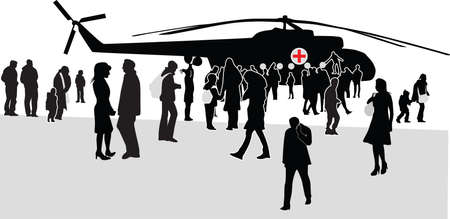 sikorsky: military mass rally silhouette vector