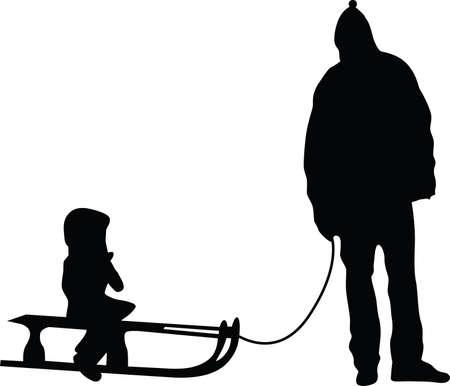 sledding silhouette vector