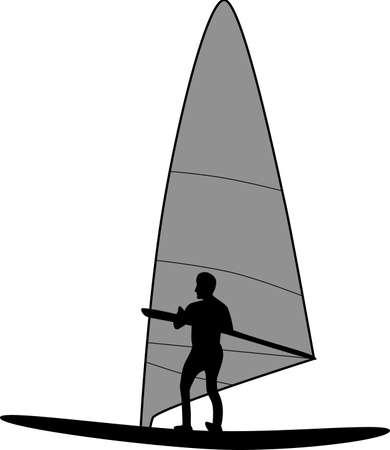 Vecteur de silhouette de surfer