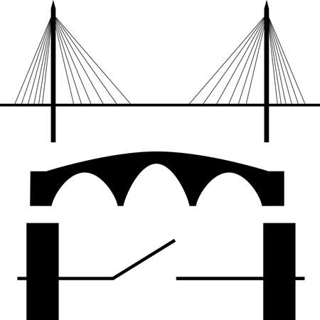 steel bridge: Bridge silhouette Illustration