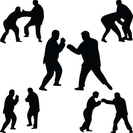 combative: fighter silhouette vector
