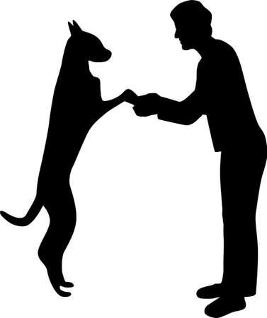 kvinna och hund silhuett