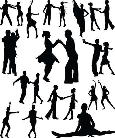 Dance people silhouette vector Stock Vector - 12832892