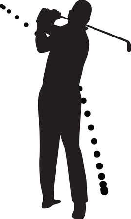 golf player silhouette vector Vector
