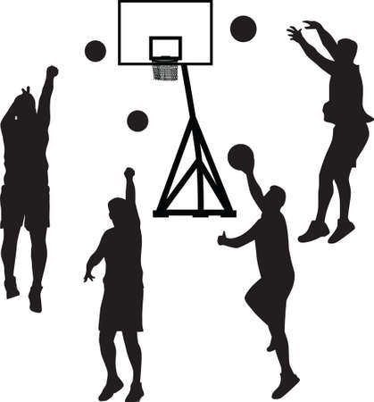 ball pen: basketball player silhouette vector