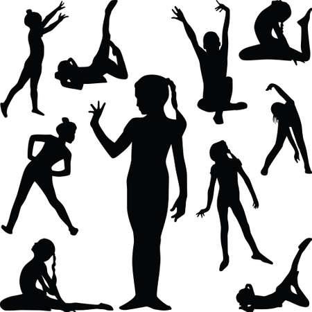 Flickan träna gymnastik i olika poser silhuett