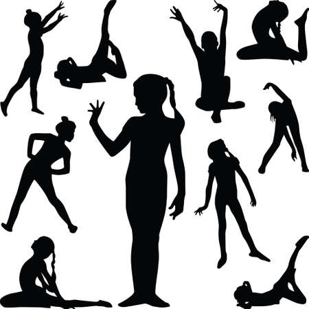 girl practice gymnastics in different poses silhouette Vector