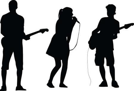 rockstar: gitarist en zanger silhouet vector