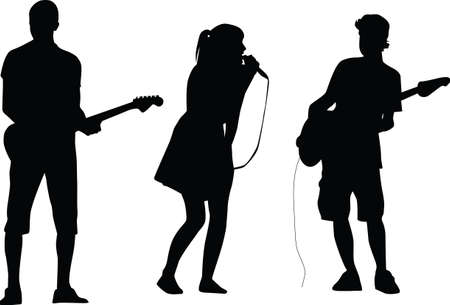 musically: guitarist and singer silhouette vector