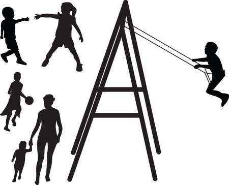 children are playing silhouette Vector