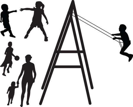 buiten sporten: kinderen spelen silhouet