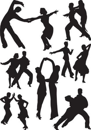 Dance people silhouette vector 免版税图像 - 15569826