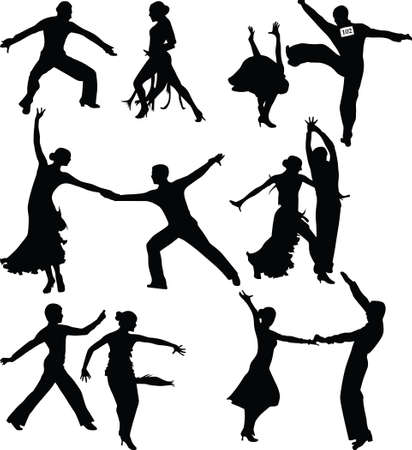 dance people silhouette vector 免版税图像 - 16989270