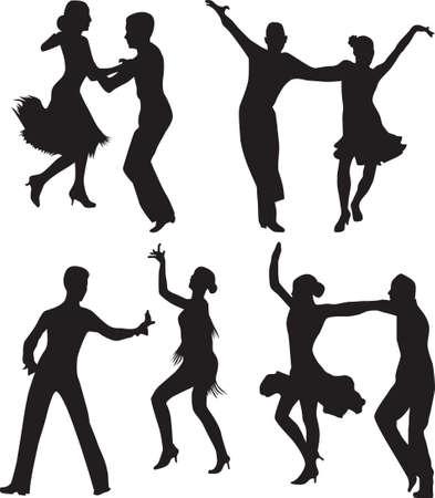 dance people silhouette vector 免版税图像 - 17896195