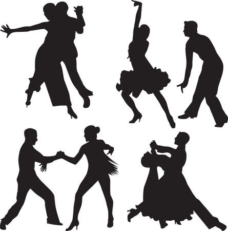 tango: dance people silhouette vector