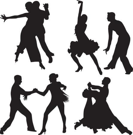 bailes de salsa: gente baile siluetas vector
