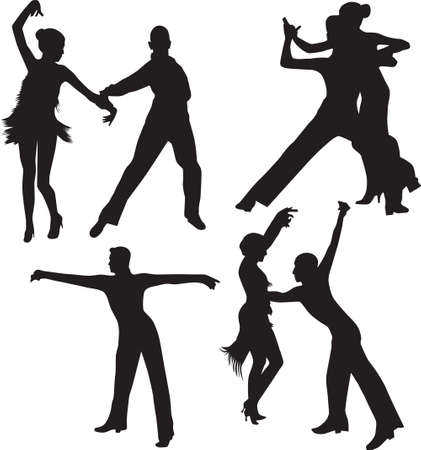dance people silhouette vector Stock Vector - 17896200