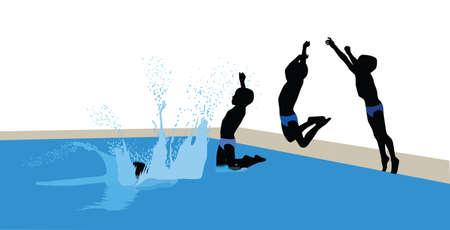 kid jumps into pool