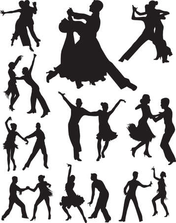 salsa dancing: dance people silhouette vector