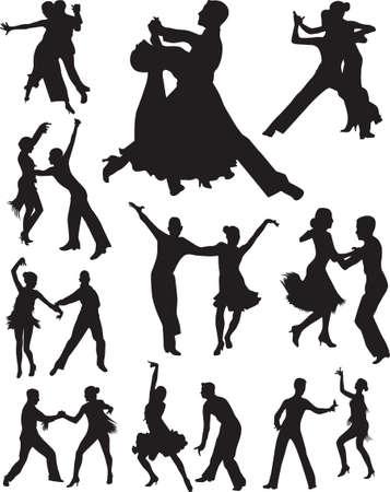 bailarines de salsa: gente baile siluetas vector
