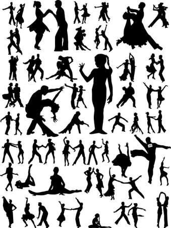 danseres silhouet: dans mensen silhouet Stock Illustratie
