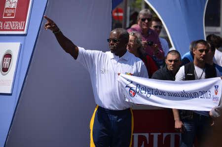 carl: BELGRADE, SERBIA - April 21, 2013 - 26. Belgrade marathon 2013. - Carl Lewis, American former sprinter Editorial