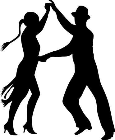 traditional dance: persone silhouette danza Vettoriali