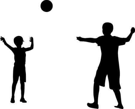 Two kids playing with a ball Vector