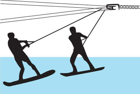 two people water skiing Illustration