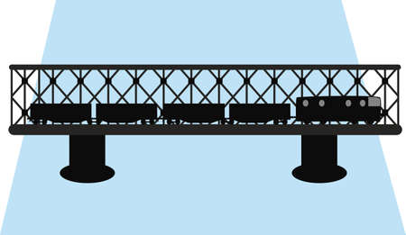 bridge and train silhouette  Vector