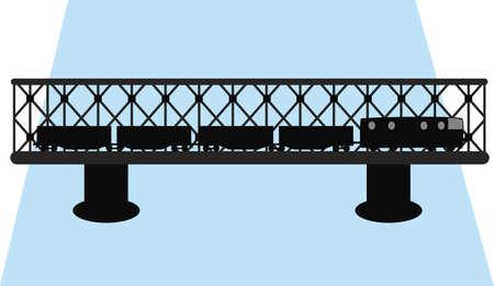 rope bridge: bridge and train silhouette  Illustration