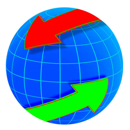 blue globe with red and green arrow Stock Vector - 21141572