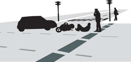 accidente transito: accidente de tr�fico con el coche y la motocicleta silueta vector