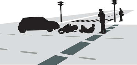 traffic accident with car and motorcycle silhouette vector Vector
