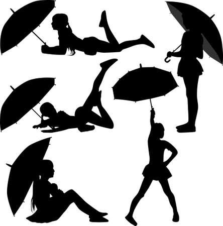woman walk: Girl dance with umbrella silhouette vector
