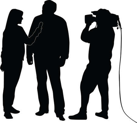 interviewer: interview silhouette  Illustration