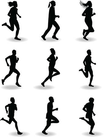healthy exercise: runner silhouette vector Illustration