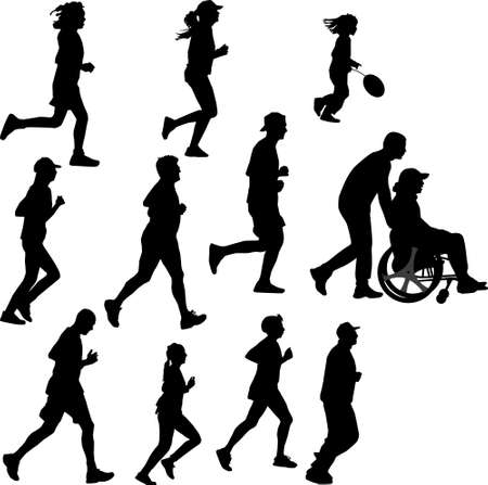 paraplegic: persona parapl�jica como corredor Vectores