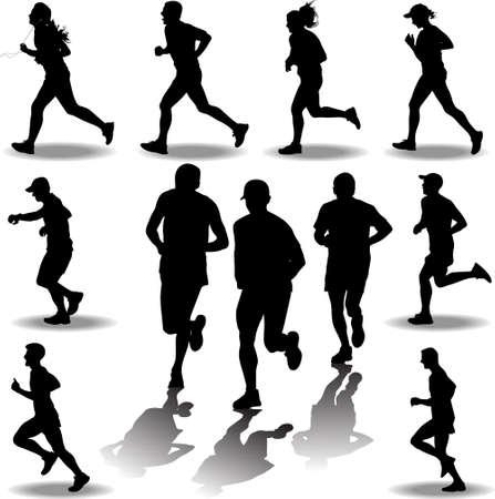 man and women as a runner silhouette vector