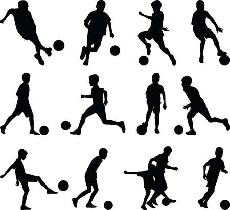 football kick: kid play soccer Illustration