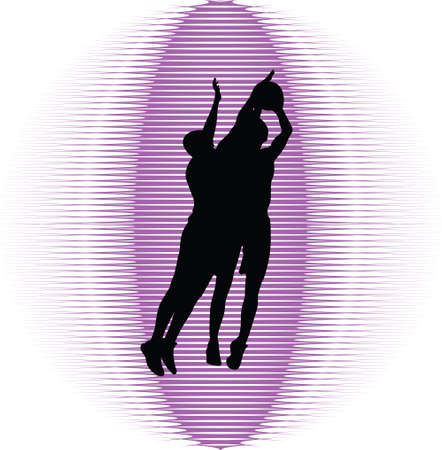 nba: basketball players in action silhouette vector