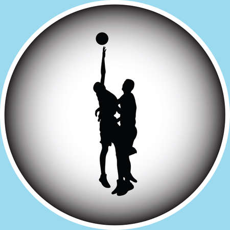 backboard: basketball players in action silhouette vector