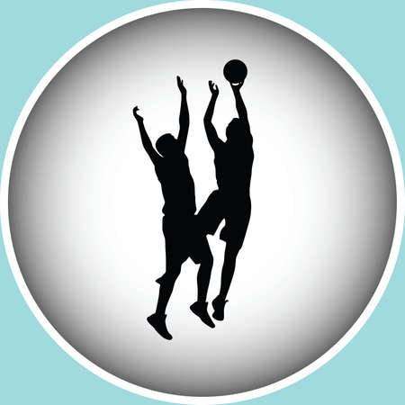 basketball players in action silhouette vector
