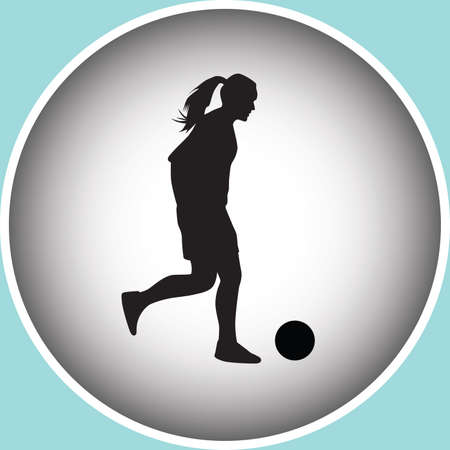 young girl feet: woman play soccer