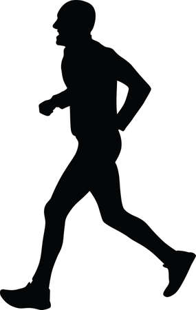 group fitness: Runner silhouette vector
