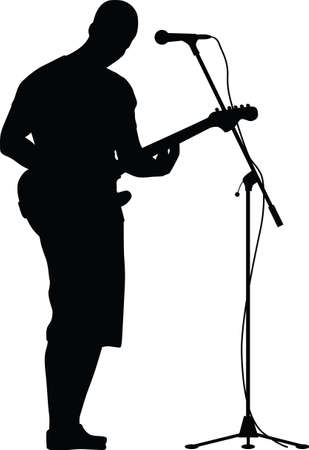guitarist and singer silhouette vector